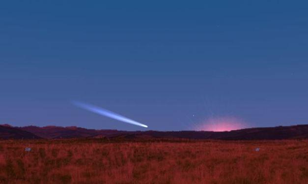 cometa Pan-STARRS al tramonto dell'8 marzo
